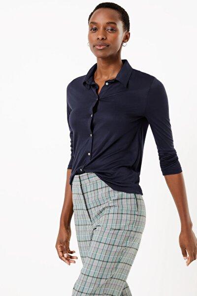Kadın Lacivert Uzun Kollu Regular Fit Gömlek T41007490