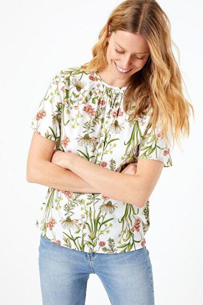 Kadın Multi Renk Desenli Kısa Kollu Bluz T43002600