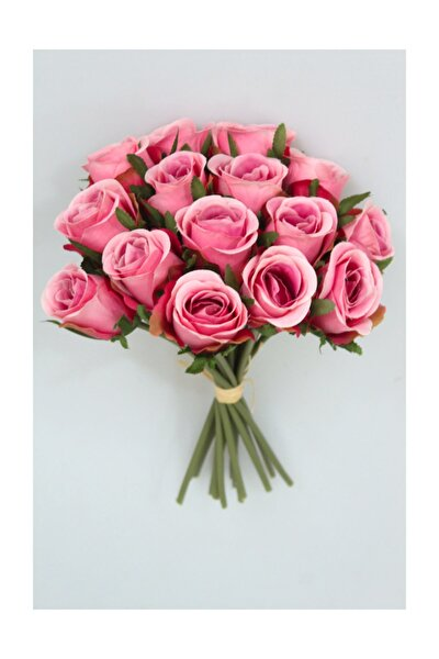 Yapay Çiçek 15li Lux Tomur Gül Buketi Pembe