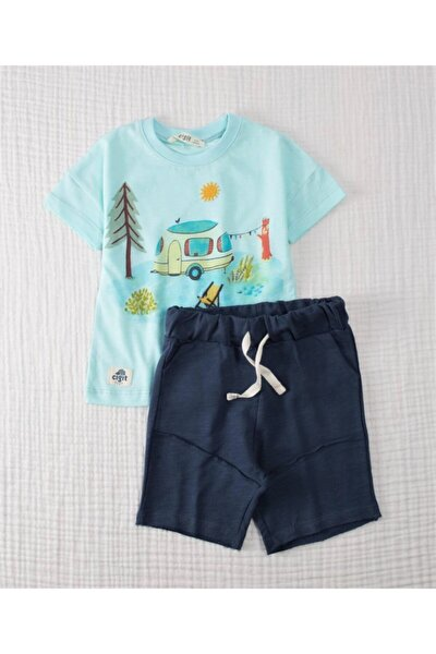 Unisex Çocuk Mavi Kamp Baskılı Tshirt ve Kapri Set