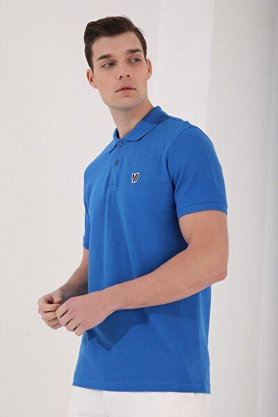 Klasik Polo Yaka Saks Erkek Tshirt T08ER-87768