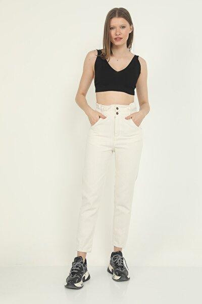 Kırık Beyaz Beli Lastikli Yüksel Bel Mom Jeans