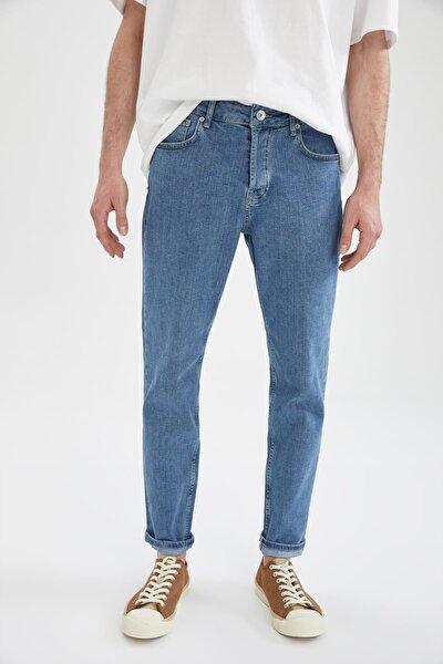 Regular Fit Yüksek Bel Jean Boru Paça Pantolon