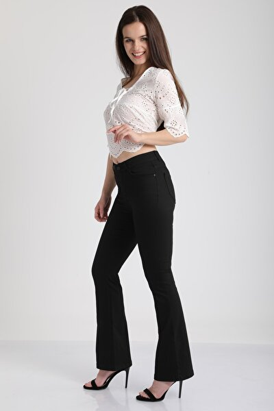 Kadın Siyah İspanyol Paça Kot Pantolon Mtrn4655