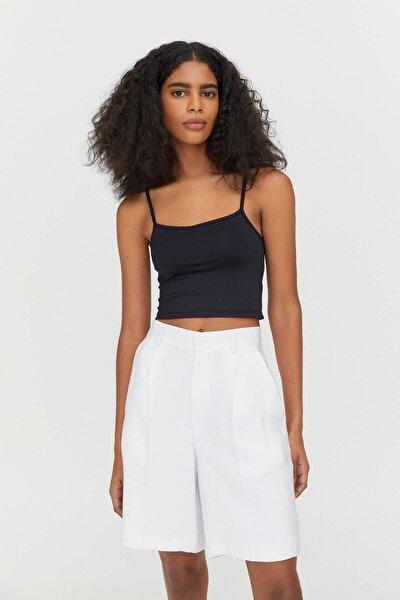 Kadın Siyah Askılı Crop Top 04241352