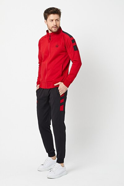 Erkek Kırmızı Kaliteli Dalgıç Kumaş Şeritli Eşofman Takımı