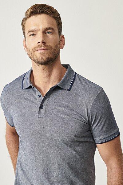 Erkek Lacivert Düğmeli Polo Yaka Cepsiz Slim Fit Dar Kesim Düz Tişört