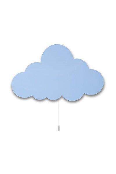 Ahşap Bulut Aydınlatma Mavi