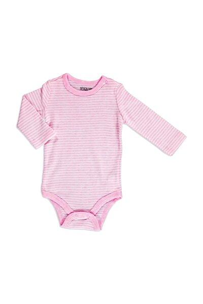 Bebek Çizgili Ribana Uzun Kol Çıtçıtlı Yaka Tek Body