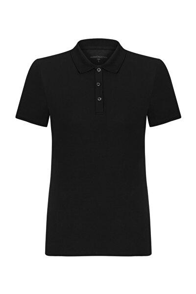 Kadın Siyah Polo Yaka Pamuklu T-Shirt 368781