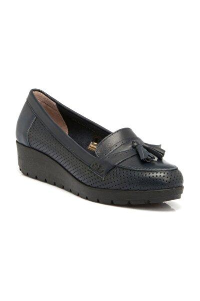 Hakiki Deri Lacivert Deri Kadın Ayakkabı  K19I1AY64203
