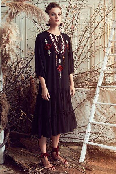 Kadın Siyah El Emegi Elbise 0YAK83478EW