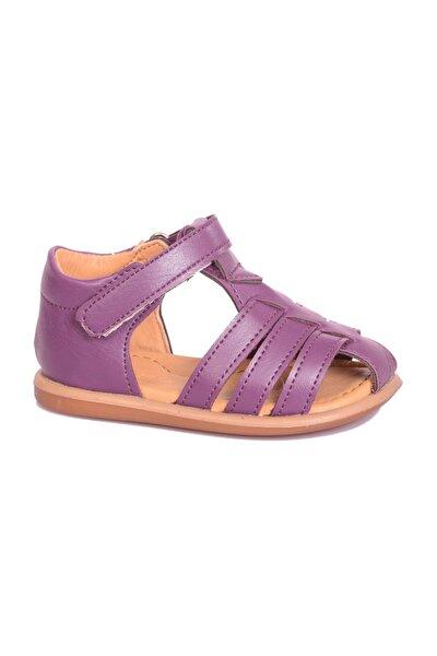 Deri Kız Çocuk Sandalet B101 Mor