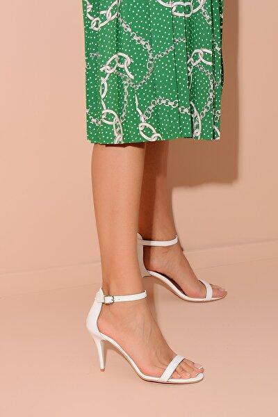 Beyaz Deri Kadın Topuklu Ayakkabı 20Y 200