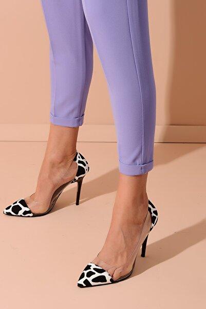Siyah Beyaz Şeffaf Kadın Topuklu Ayakkabı 20Y 210