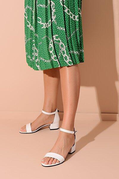 Beyaz Deri Kadın Topuklu Ayakkabı 20Y 216
