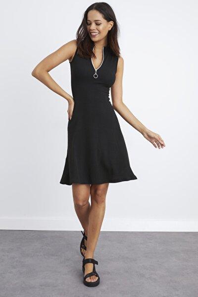 Kadın Siyah Yaka Fermuarlı Kaşkorse Elbise Yİ2169