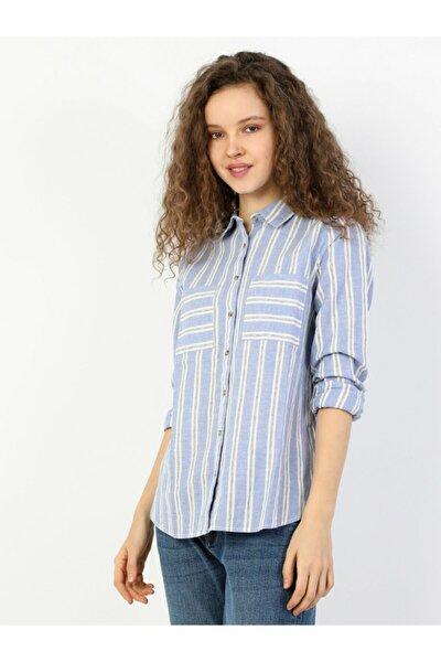 Regular Fit Shirt Neck Kadın Mavi Uzun Kol Gömlek