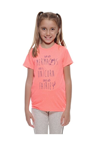Kız Çocuk Mercan Rengi T-shırt