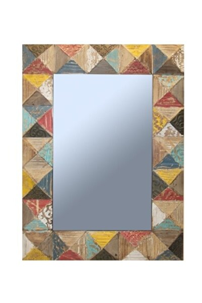 Dekoratif Ahşap Duvar Aynası 74 Cm