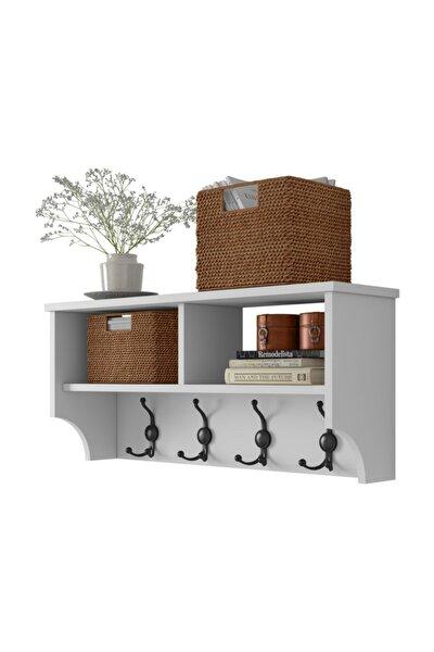 Modern Portmanto Duvar Askısı Beyaz Vestiyer 90 cm