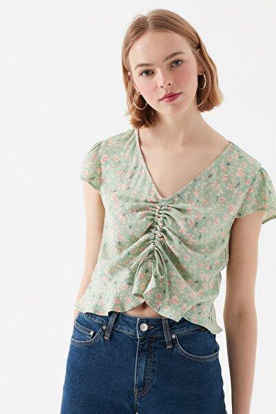 Çiçek Baskılı Yeşil Bluz 122517-31546