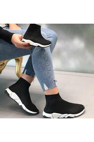 Kadın Siyah Çoraplı Beyaz Taban Sneakers Ayakkabı