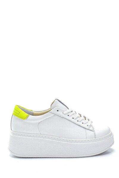 Kadın Beyaz Deri Yüksek Tabanlı Sneaker
