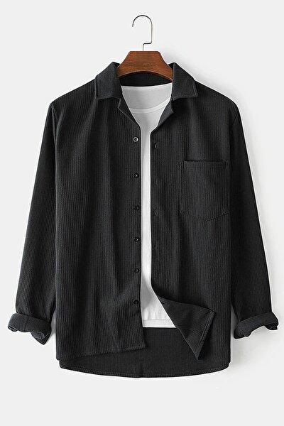 Erkek Kendinden Desenli Cepli Pamuklu Regular Fit Gömlek-siyah