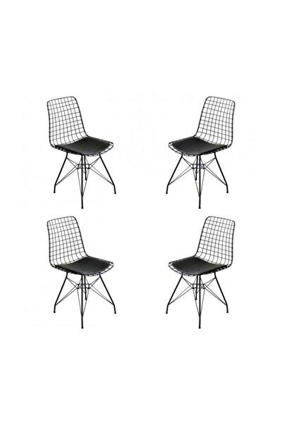 4 Adet Tel Sandalye, Kafe Sandalyesi, Mutfak, Bahçe, Ofis Sandalyesi