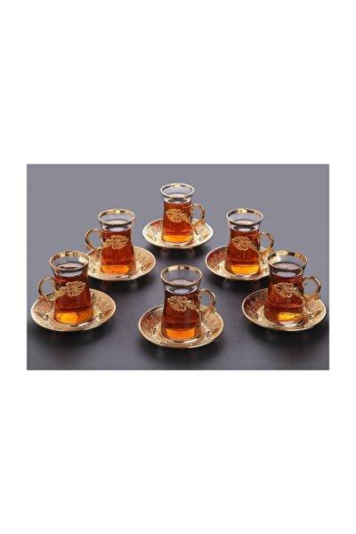 Sefa Çay Seti 6 Kişilik 18 Parça Altın Renkli