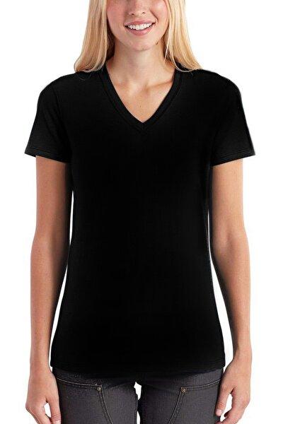 Düz, Baskısız Basic Siyah V Yaka Kısa Kollu Kadın T-shirt