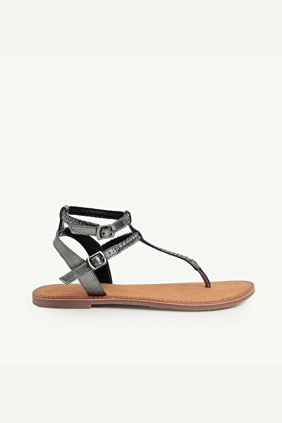 Kadın Koyu Gri Deri Sandalet 0YKAY4038X
