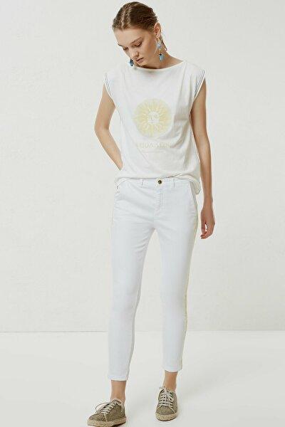 Kadın Beyaz Nakış Detaylı Denim Pantolon 0YKPN3123X