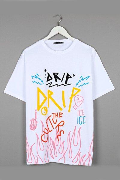 Drip Baskılı Oversize Beyaz Unisex Tshirt