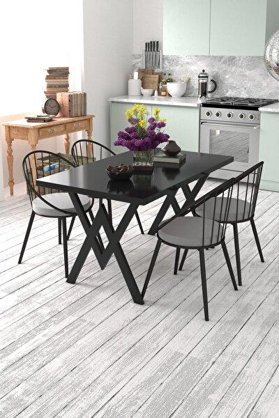 Eylül 4 Kişilik Mutfak Masası Takımı Siyah Gri