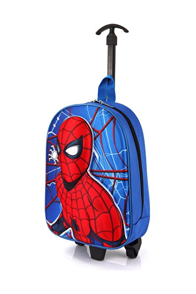 Anaokulu Çocuk Valiz Sırt Çantası Çekçekli 2in1 Örümcek Adam Model Sert Ön Yüzey 5d Boyutlu Mavi