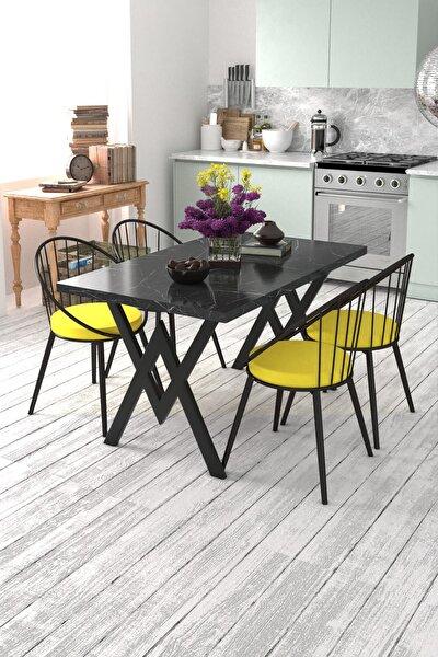 Eylül 4 Kişilik Mutfak Masası Takımı Siyah Mermer Desen Sarı