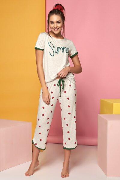 Kadın Bej Melanj Kısa Kol Pijama Takımı