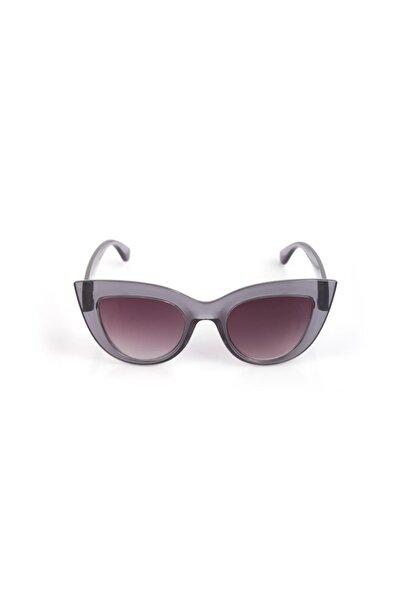 Kalın Çerçeveli Tasarım Cat Eye Gri Kadın Güneş Gözlüğü