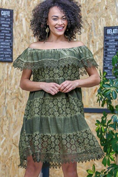 Kadın Yeşil Bohem Carmen Yaka Dantel Detaylı Yıkamalı Astarlı Elbise M10160000EL97069