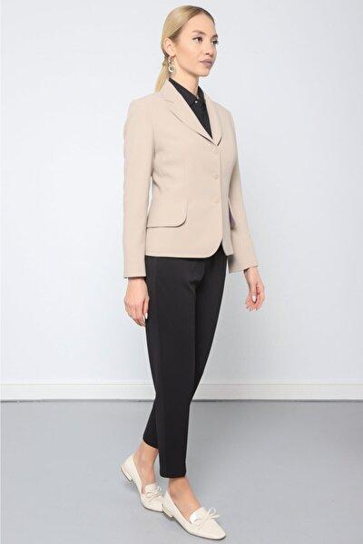 Kadın Taş Mono Yaka Geniş Kapak Cepli Ceket