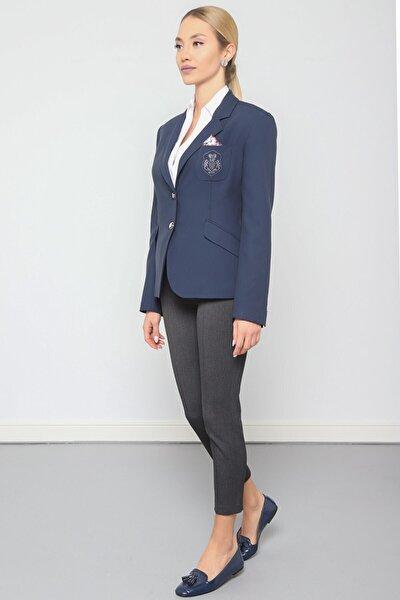Kadın Lacivert Ceket Mono Yaka-üst Cep Nakış Detaylı, Ön 2 Düğme