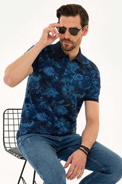 Erkek Lacivert Slim Fit Polo Yaka T-Shirt