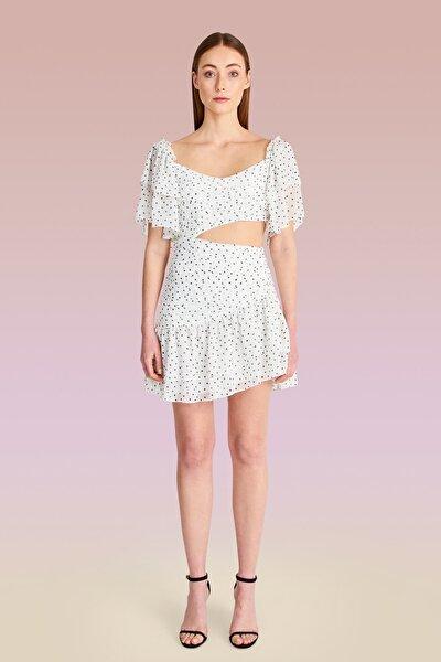 Beyaz Puantiye Baskılı Drapeli Elbise TDPSS20EL0146