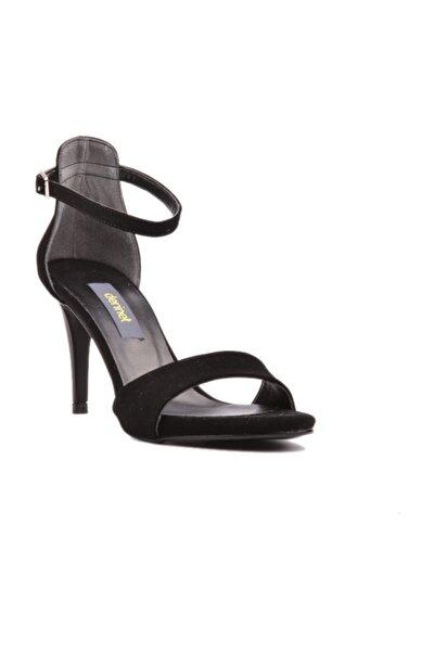 Siyah Süet Bantlı Kadın Ayakkabı