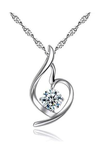 Gümüş Zirkon Taşlı Melek Kalbi Bayan Kalp Kolye