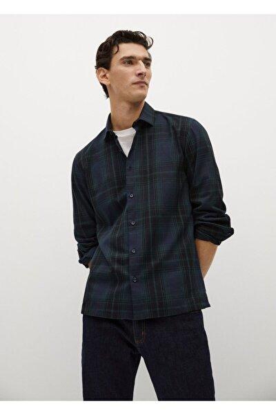 Erkek Lacivert Regular Kesim Kareli Pamuklu Gömlek