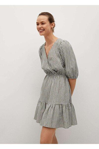 Kadın Haki Kareli Vinil Elbise
