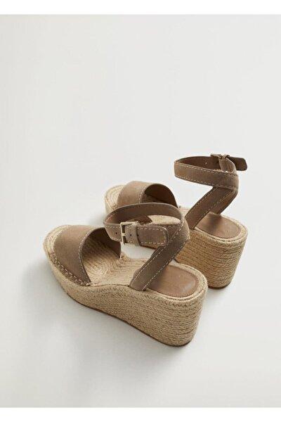 Kadın Açık/Pastel Kahverengi Dolgu Topuklu Deri Sandalet
